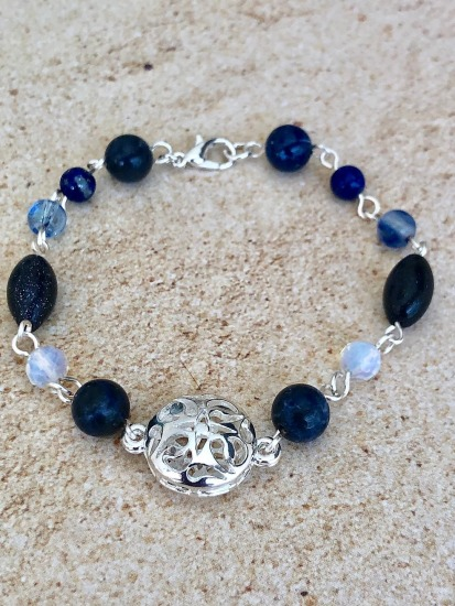 Sterling filligree, lapis lazuli, blue goldstone and sodalite stones hand-linked BRACELET, silver lobster clasp - 7""