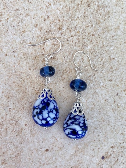 "Royal blue handmade lampwork bead EARRINGS on sterling fishhook earwires - 1.5"" drop"