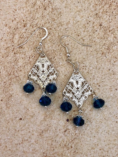 "Chandelier earrings - silver filligree, blue Swarovski crystals on sterling fishhook earwires - 1"" drop"