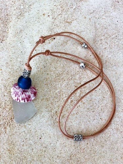 White and cobalt seaglass and pink calico scallop NECKLACE on round rawhide leather cord, pewter accents, adjustable