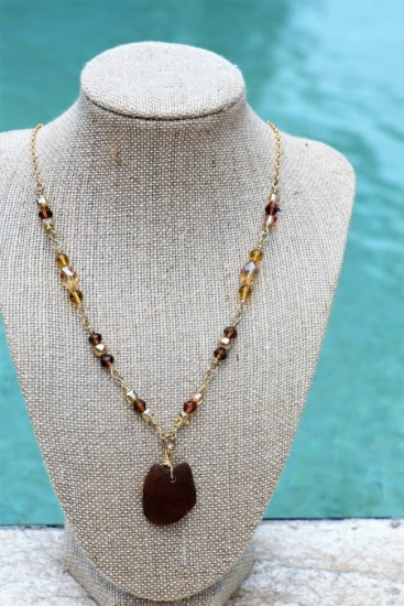 Amber seaglass and Swarovski crystal choker statement necklace, GF wire-wrapped with GF link chain, GF lobster clasp, 17.5""