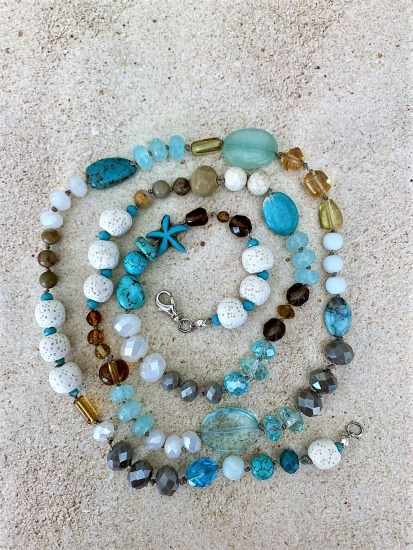 "Hand-knotted eclectic beach NECKLACE - turquoise, crystal, glass and lava beads - 32"", lobster clasp"