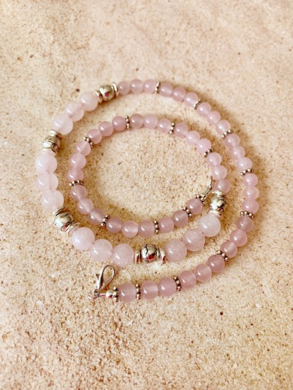 "Rose quartz and silver spacer strand NECKLACE - 18"" - sterling lobster clasp"