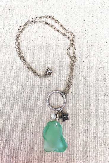 Seafoam seaglass, pearl and starfish pendant NECKLACE on silver chain, sterling lobster clasp, 26""
