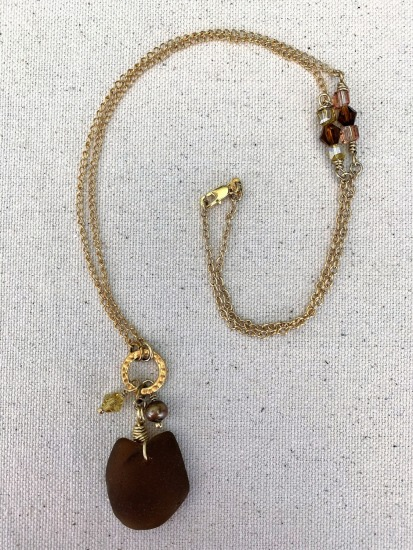 Amber seaglass pendant NECKLACE with gold starfish and champagne pearl charms on GF link chain with Swarovski crystals, GF lobster clasp, 26""