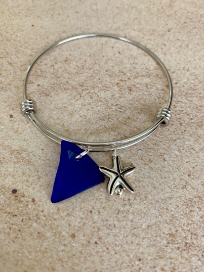 Cobalt blue seaglass chip with silver starfish charm bangle BRACELET, stainless bangle