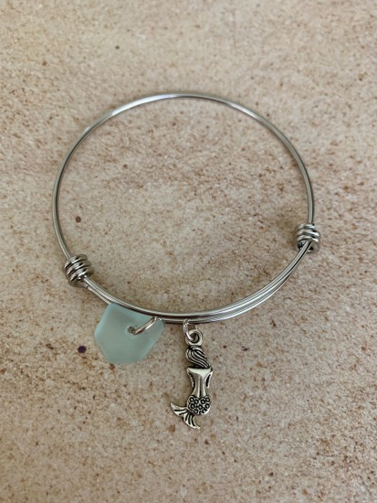 Seafoam seaglass chip and mermaid charm bangle BRACELET, stainless bangle