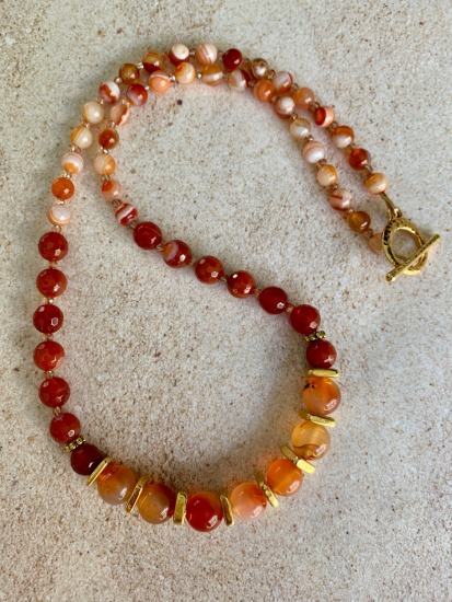 Carnelian graduated bead NECKLACE -  gold Tierra Cast spacers and TierraCast toggle clasp - 24""