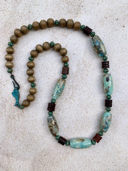 "African turquoise jasper stone (""Dragonscale""), wood and verdi gris brass spacer bead NECKLACE, verdi gris mykonos fish and hook clasp  26"""