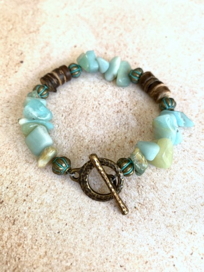 Amazonite, Coconut and Brass beaded BRACELET, brass toggle clasp - 7""