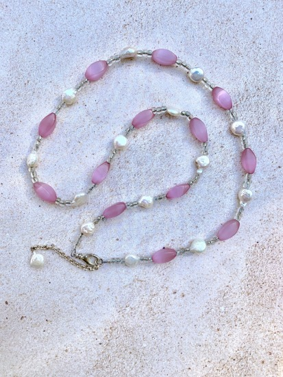 "Freshwater coin pearl and pink cats' eye glass NECKLACE, silver lobster clasp - 24"" adjustable"