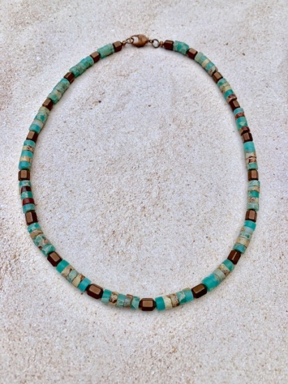 "Ocean jasper and copper beaded choker NECKLACE, 18"", copper lobster clasp"