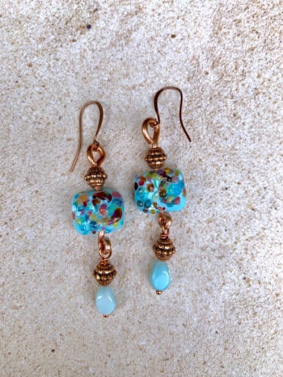 Turquoise blue confetti glass and copper artisan glass drop EARRINGS
