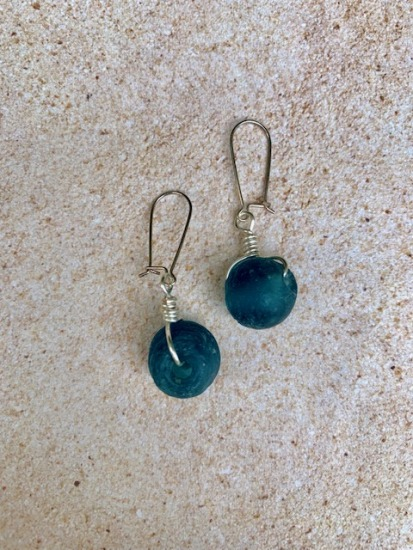 Cobalt blue recycled African glass EARRINGS on sterling earwires