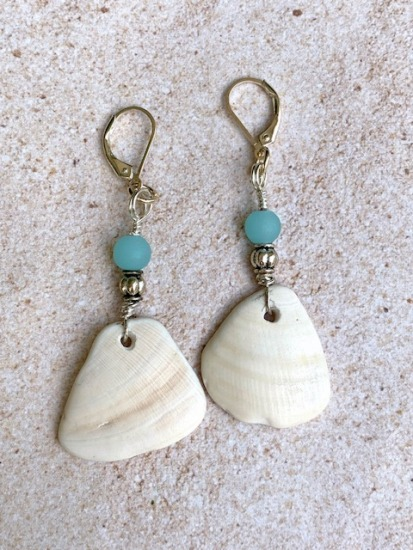"White quahog shell fragment with aqua glass bead EARRINGS, sterling lever-back - 2""L"