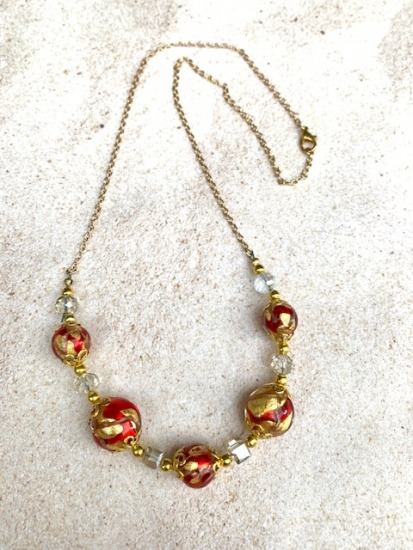 Red and gold flake Murano glass bead and cyrstal NECKLACE on GF linked chain - 22""