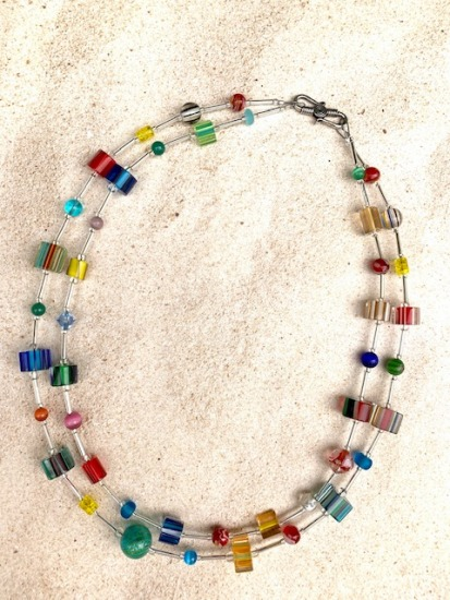 Double-stranded Multi-color rainbow Furnace glass NECKLACE, silver S hook clasp - 22""