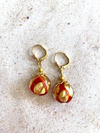 Red and gold flake vintage Murano glass dangle EARRINGS on GF leverbacks