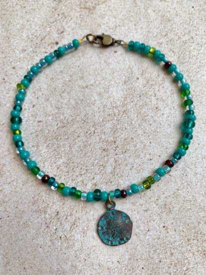 Turquoise, aqua and lime seed bead mix ANKLET, brass lobster clasp - 9.5""
