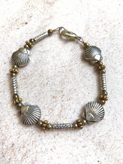 Silver and gold beaded stack BRACELET - scallop - lobster clasp 7""