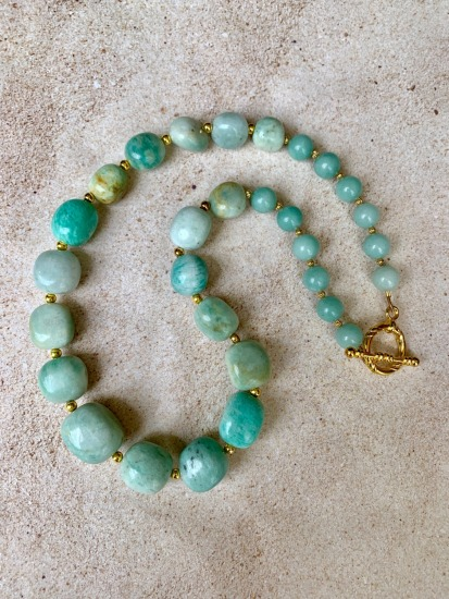 Chunky Amazonite graduated stone NECKLACE, gold spacers, gold toggle clasp - 20""
