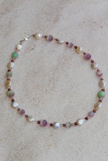 "Freshwater coin pearl and pink cats' eye glass choker NECKLACE, 16"", silver lobster clasp"