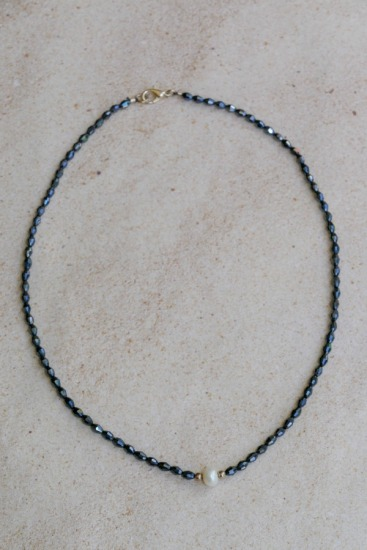 Minimalist NECKLACE - faceted black glass with single cultured pearl, silver lobster clasp - 17""