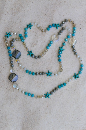 Eclectic beach-inspired mix of colorful faceted Czech glass bead NECKLACE, hand-knotted, 42""