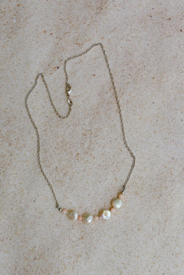 Dainty freshwater coin pearl and angelskin coral bar NECKLACE on sterling chain, lobster clasp