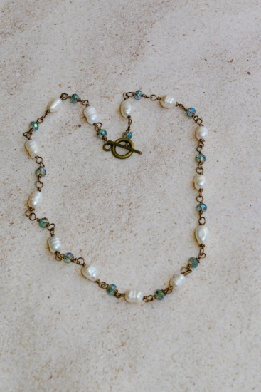"Brass, freshwater pearl and crystal hand-linked  NECKLACE - 18"", toggle clasp"