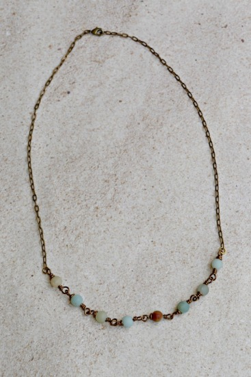 Brass and flower Amazonite hand-linked NECKLACE on brass chain, lobster clasp