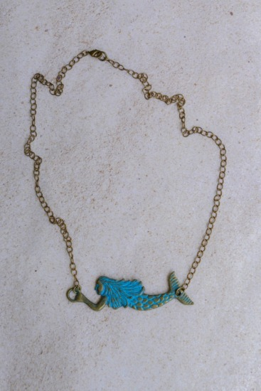 Brass and verdi gris mermaid NECKLACE, brass chain, lobster clasp - 18""